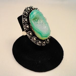 Jewelry - Mint Green Crystal Quartz Druse .925 Silver Ring